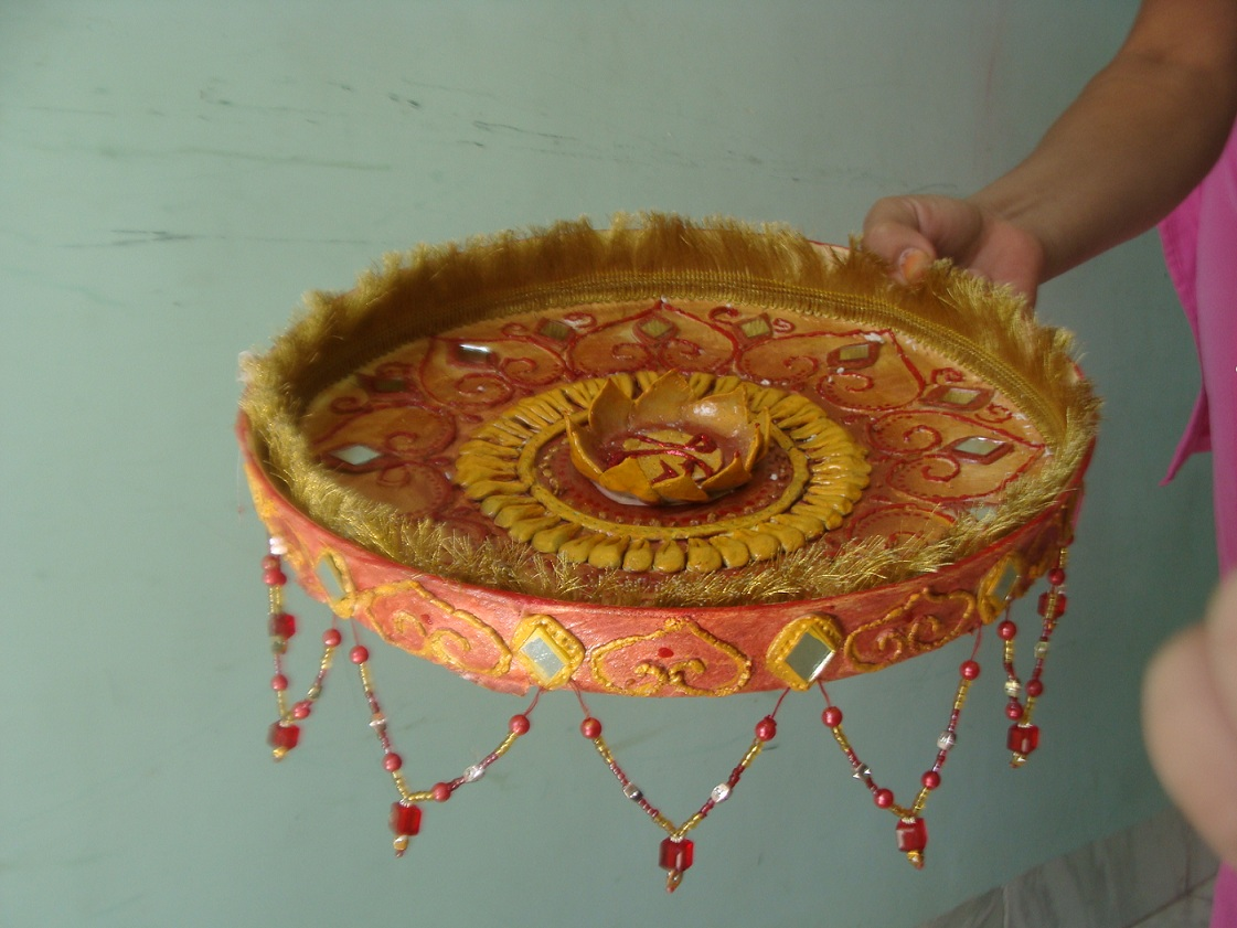 Ceramic work creative sanchal for Aarti thali decoration with flowers